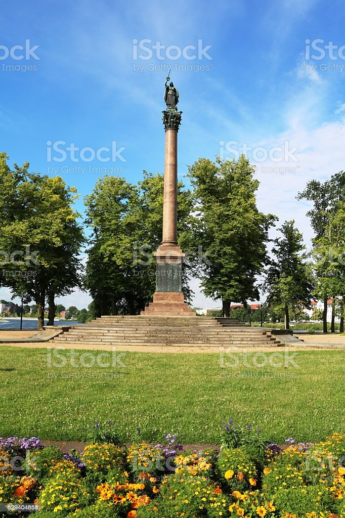 Victory Column at Burgsee in public park Schwerin, Mecklenburg-Vorpommern Germany stock photo