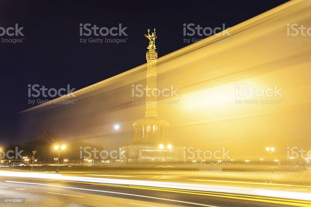 Victory Column at night, Berlin stock photo