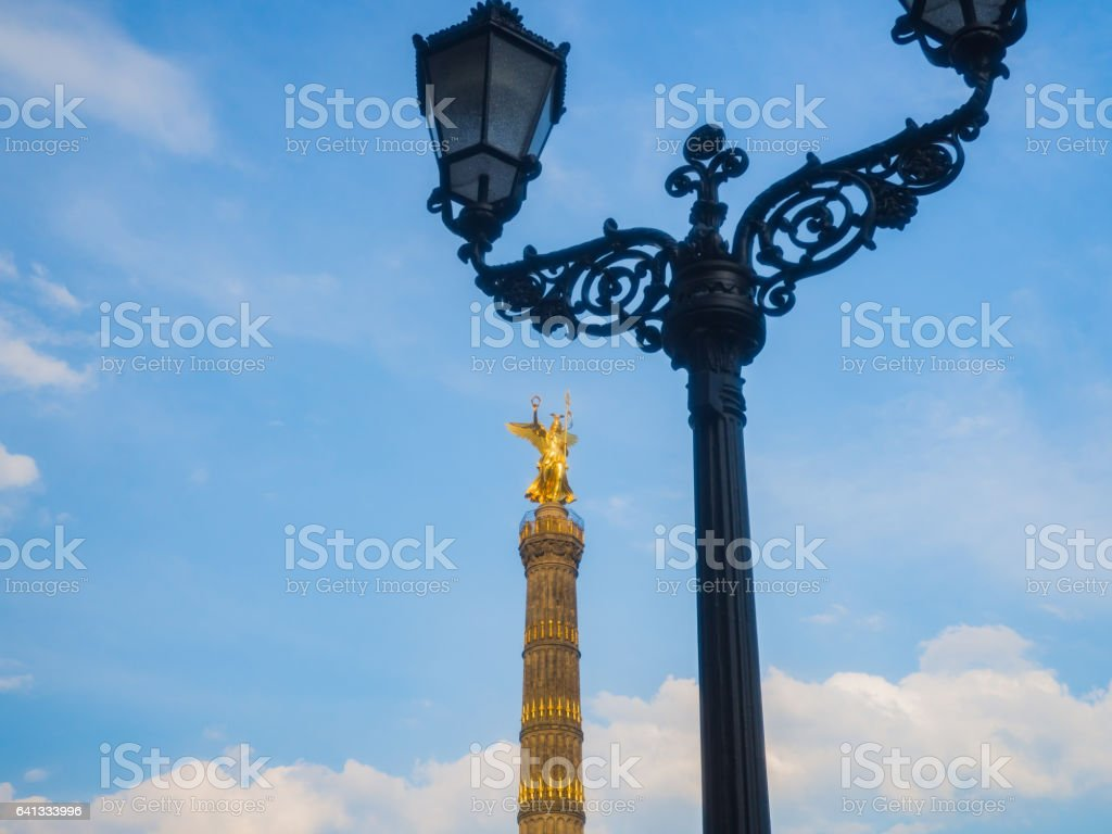 Victory Column with an old gas lamp in Berlin stock photo