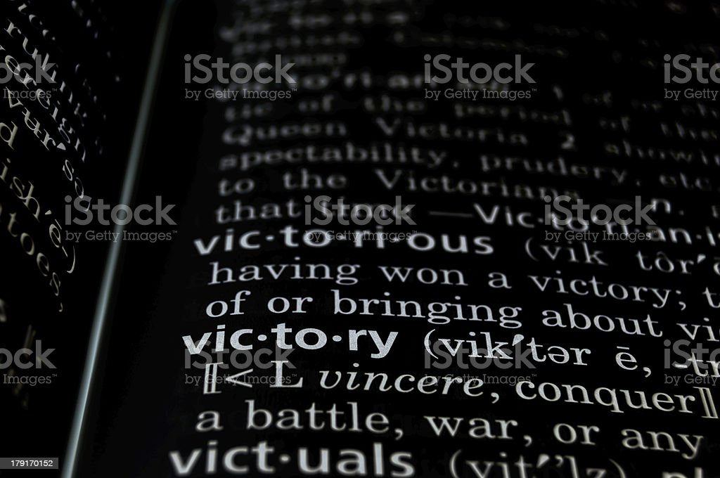 Victory Defined on Black royalty-free stock photo
