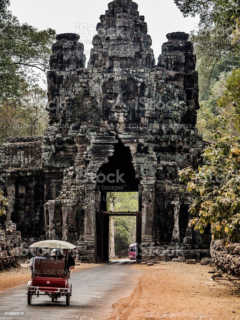 Victory entrance gate to Angkor Thom Cambodia stock photo