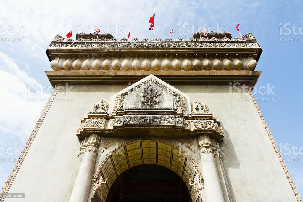 Victory gate in Vientiane, the capital of Laos stock photo