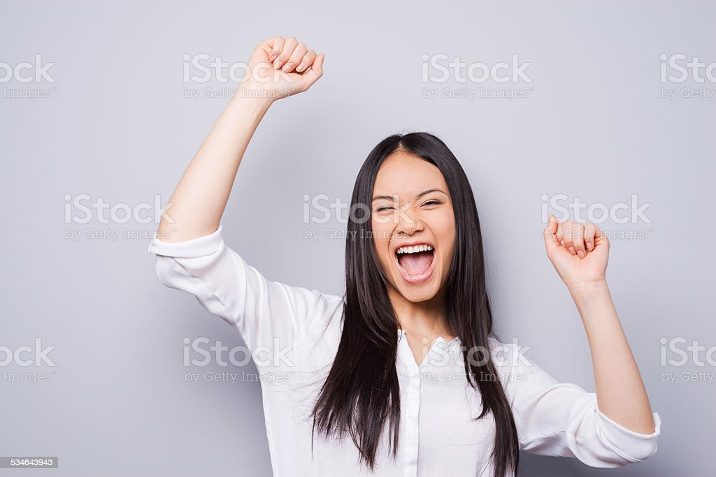 Victory is my second name! stock photo