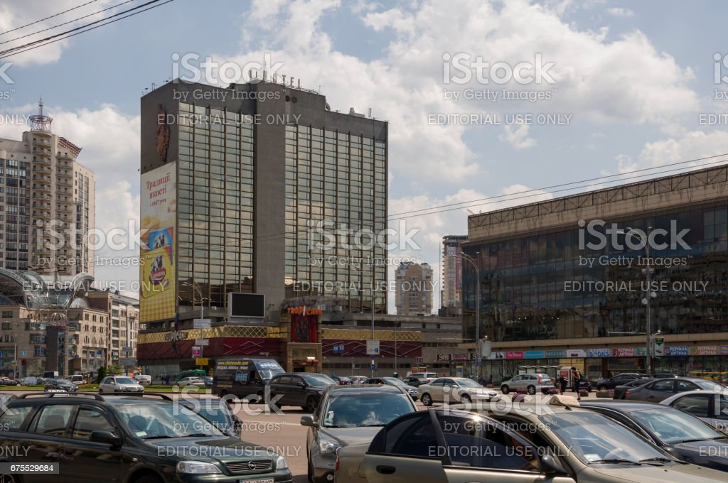 Victory Square in Kiev city, Ukraine. July 04, 2013.  Summer street with much storeyed buildings stock photo