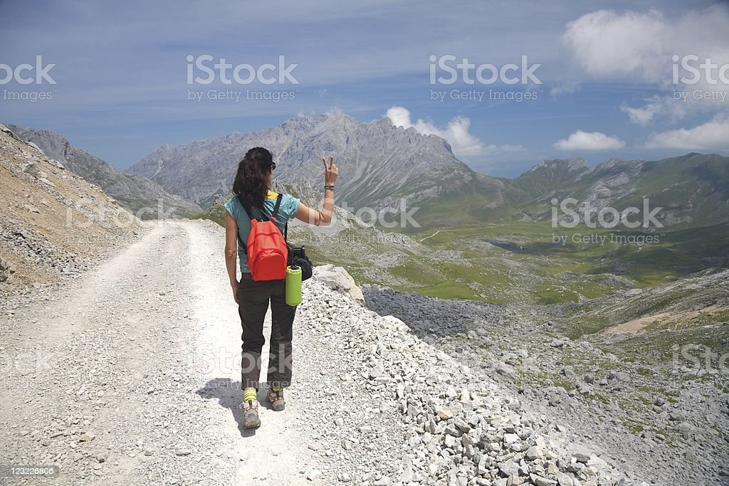 victory trekking woman in Cantabria stock photo