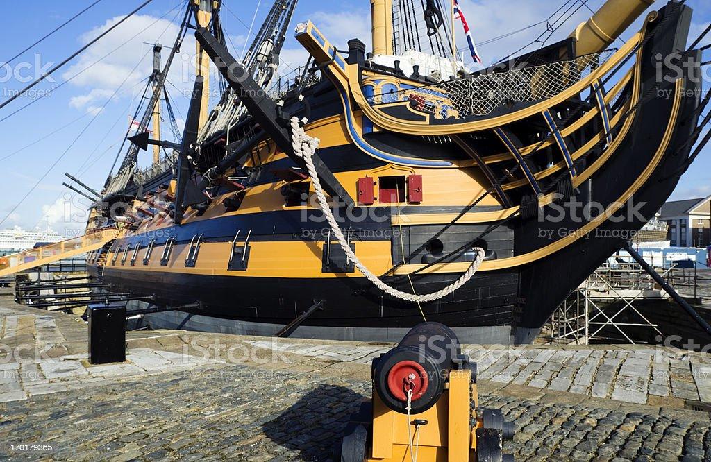 HMS Victory under repairs stock photo