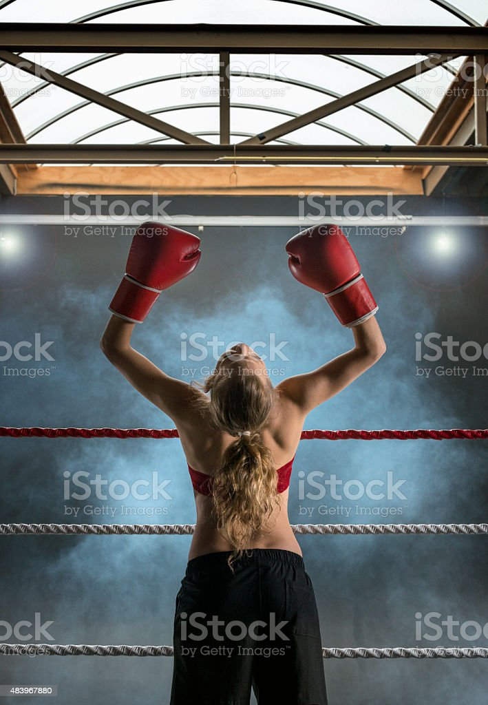 Victory, willpower, Boxing stock photo