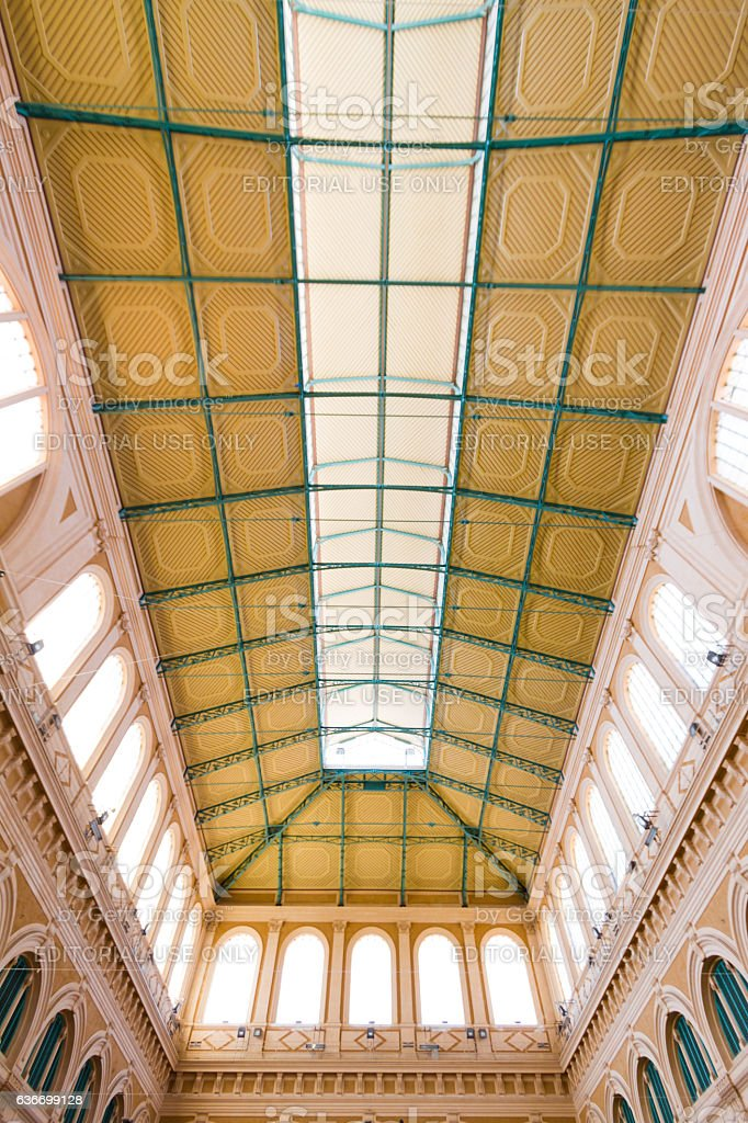 Victuals market in Leghorn, Italy stock photo