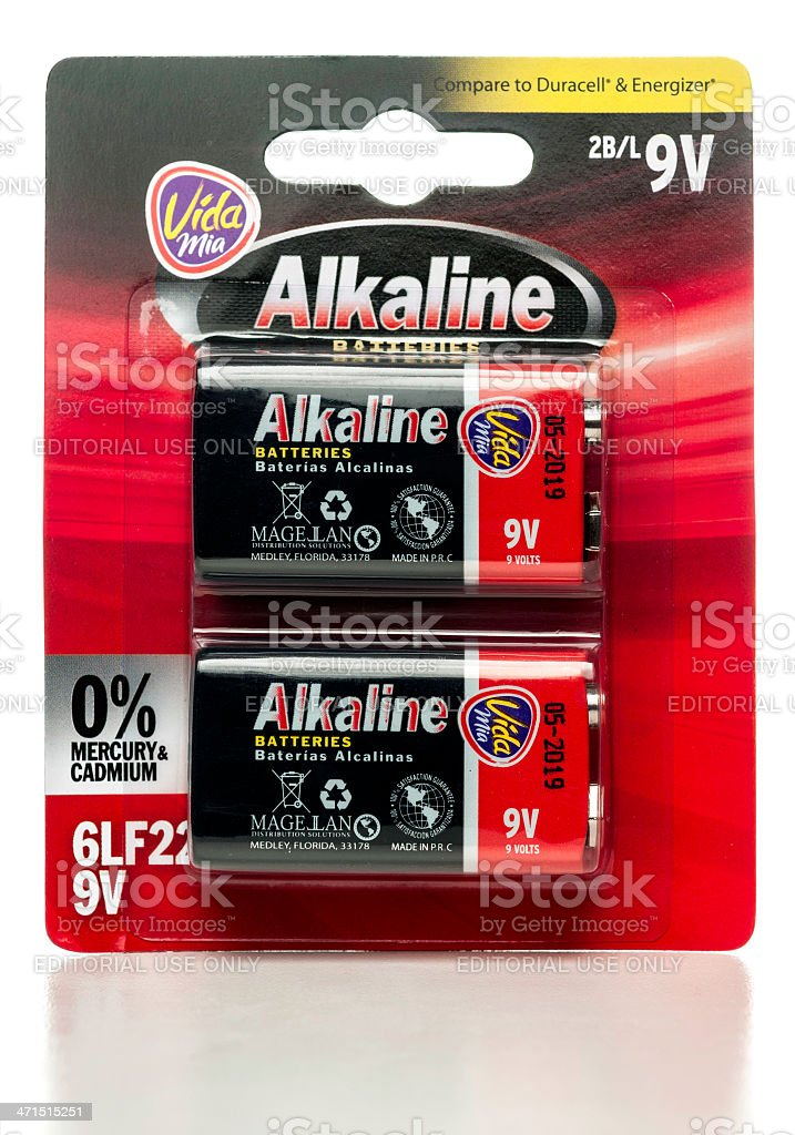 Vida Mia Alkaline 9V batteries package stock photo