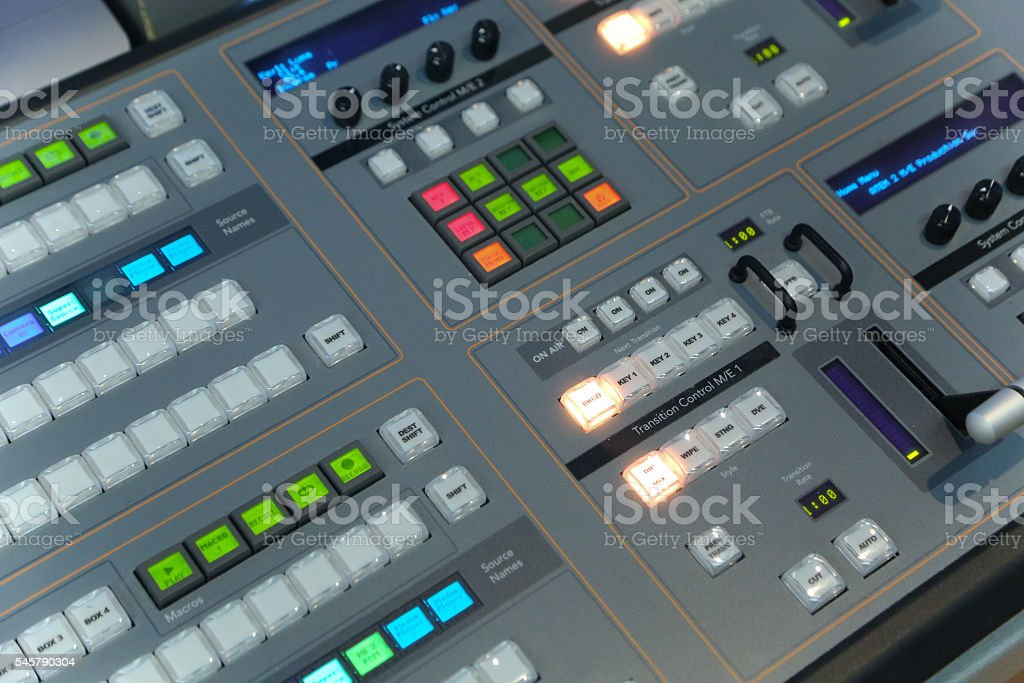 Video and audio production switcher stock photo