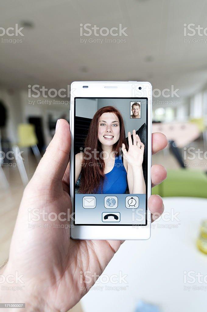 Video call and live stream on a smart phone stock photo