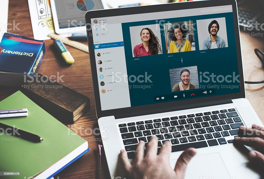 Video Call Chatting Communication Concept stock photo