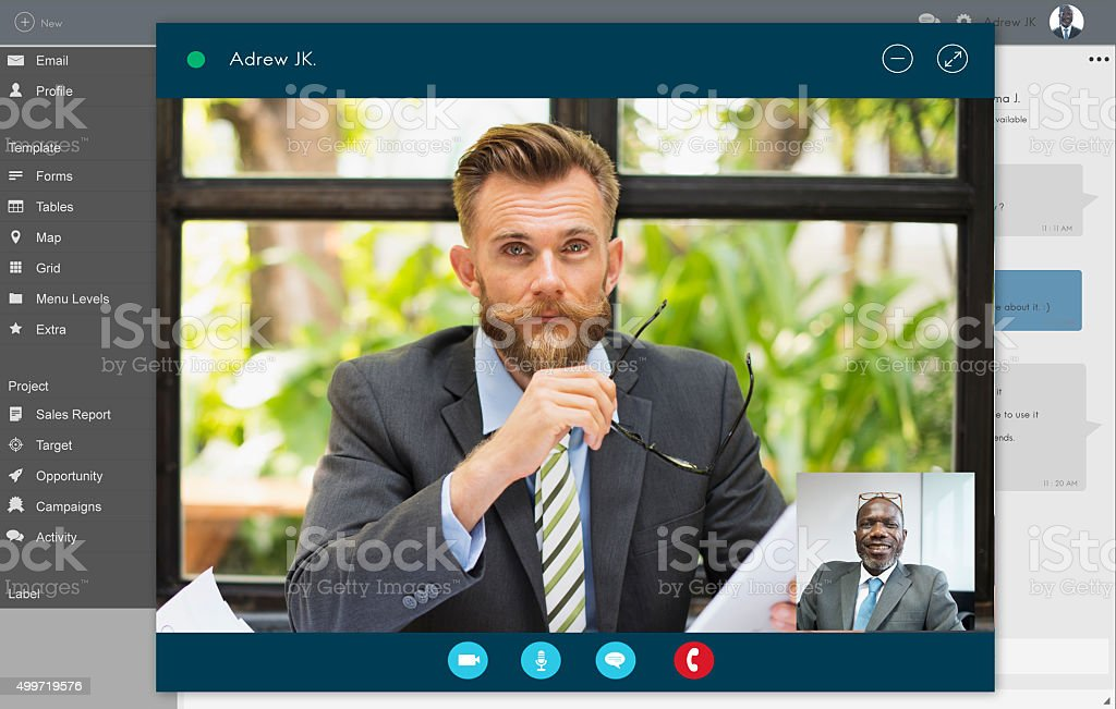 Video Call Conference Chatting Communication Concept stock photo