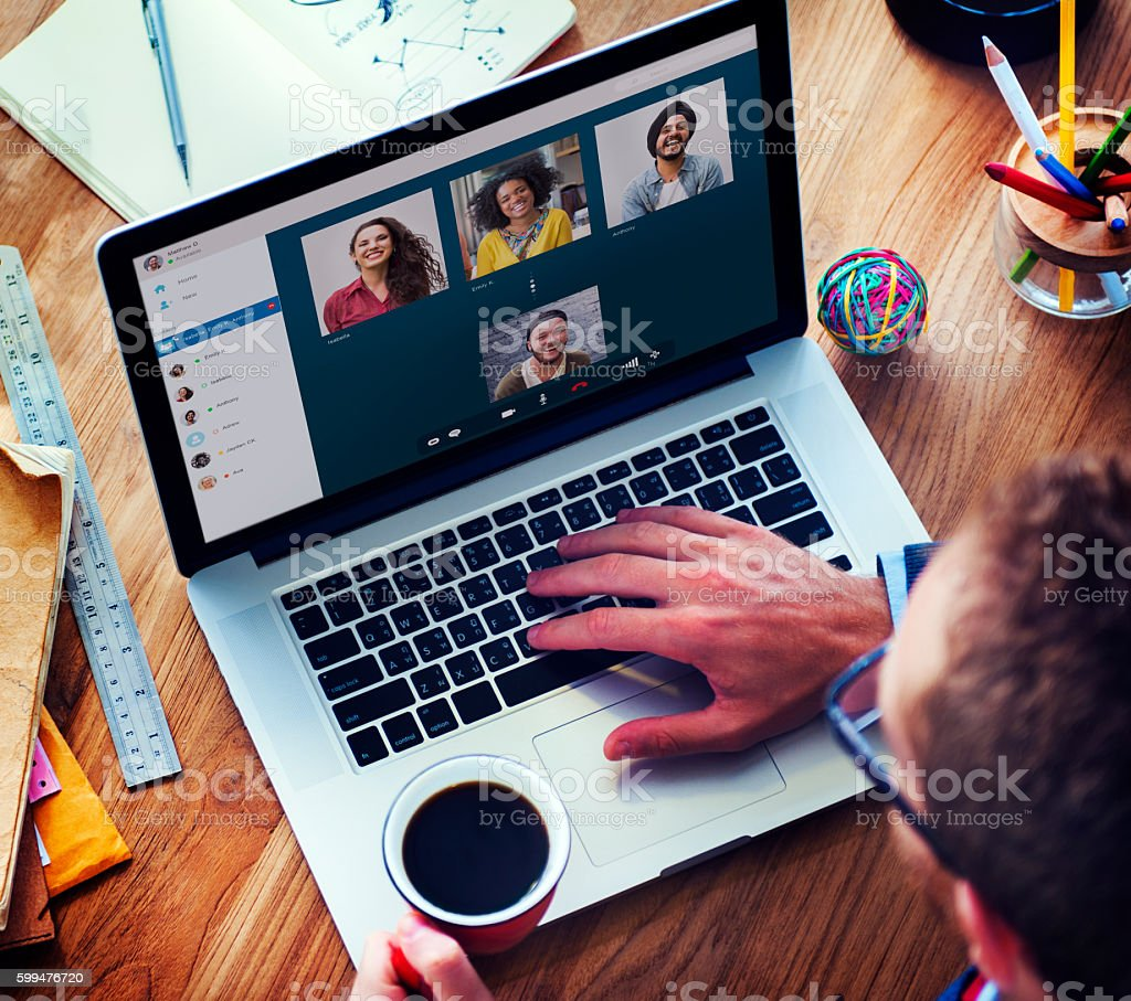 Video Call Facetime Chatting Communication Concept stock photo