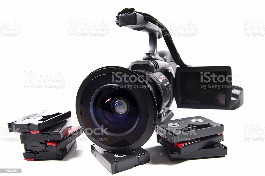 video camera and tapes stock photo