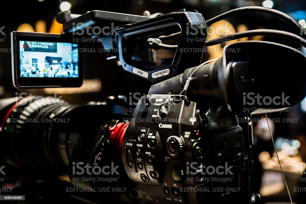 Video Camera at CES 2016 stock photo