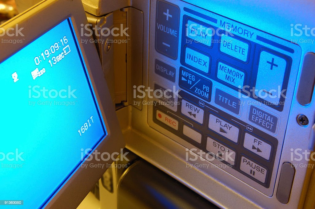 Video camera control panel stock photo