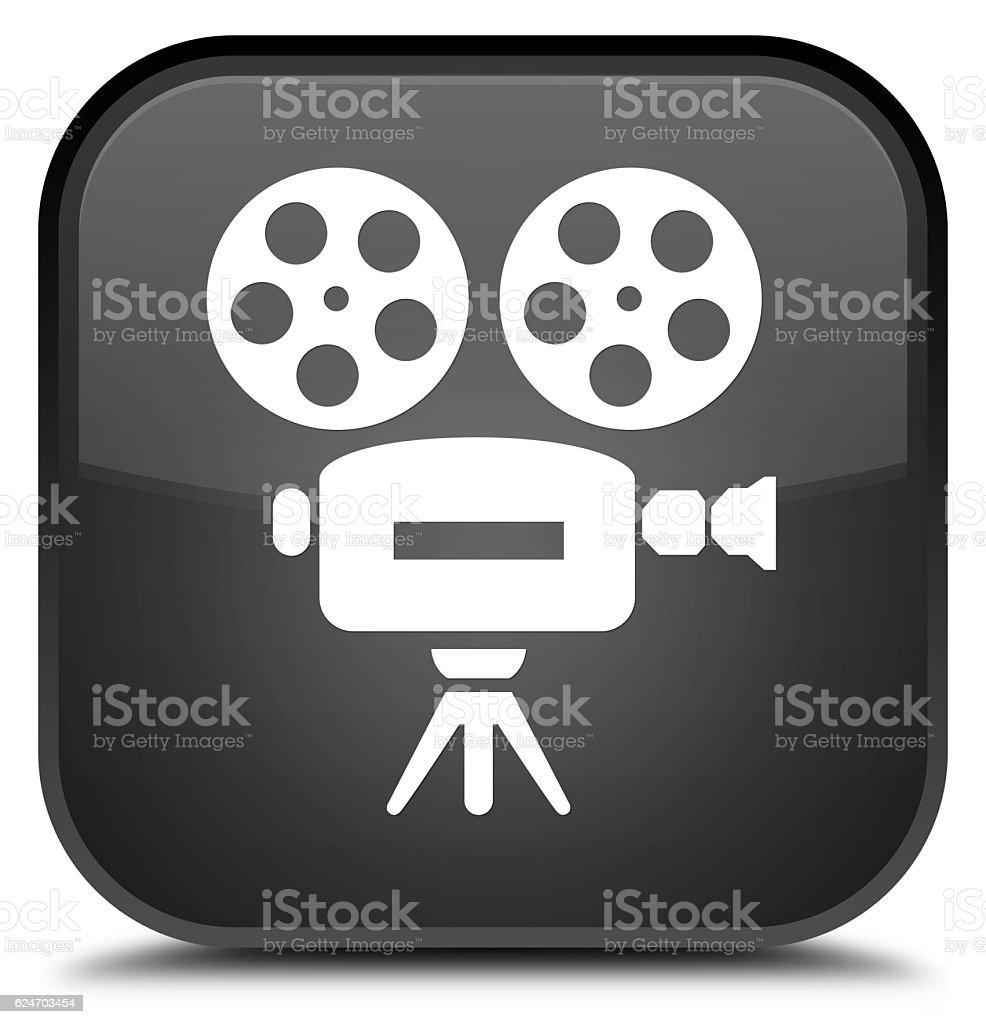 Video camera icon special black square button stock photo