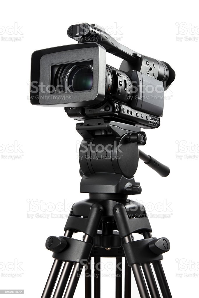 Video camera on tripod royalty-free stock photo