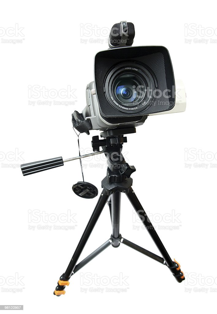 video camera on tripod royalty-free stock photo