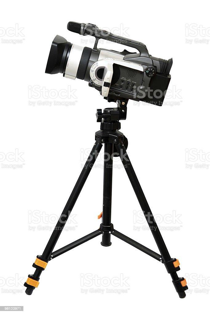 video camera on tripod stock photo