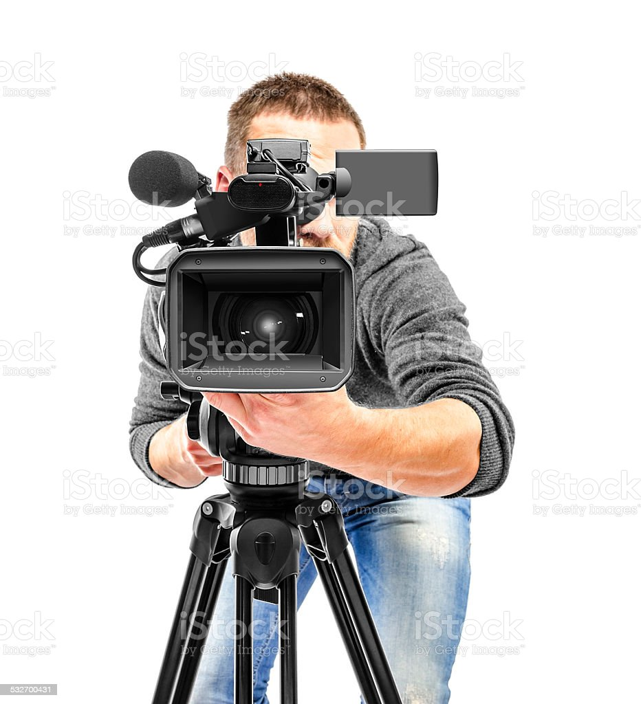 Video camera operator filmed. stock photo