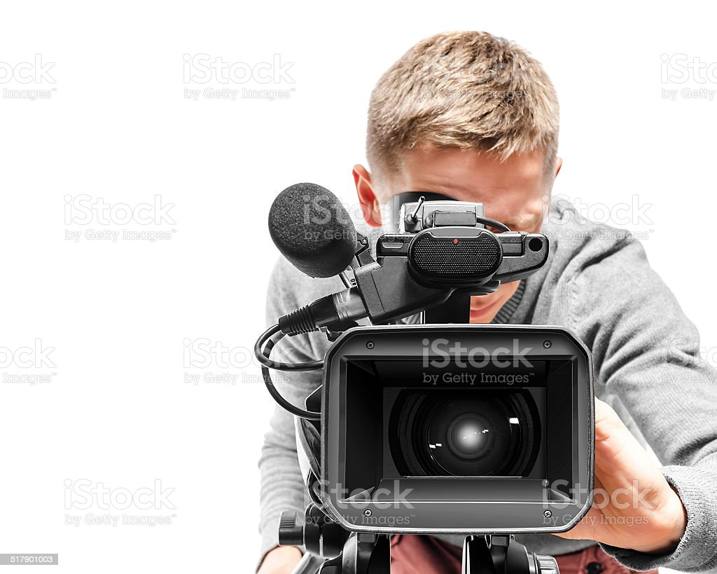 Video camera operator stock photo