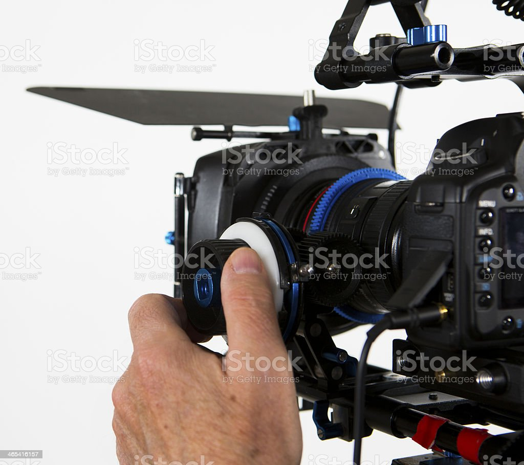 DSLR Video camera with hand, Canon 5D with lens stock photo