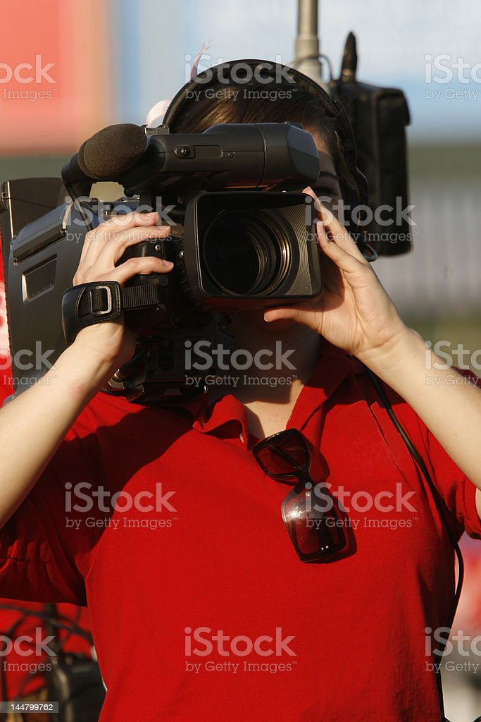 video camerawoman royalty-free stock photo