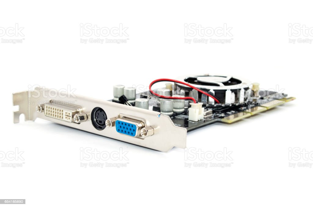 A video card isolated on a white background. stock photo