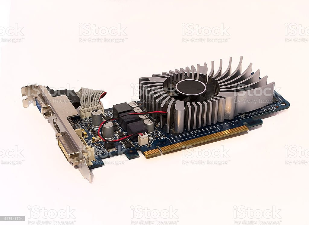 video card on a white background stock photo