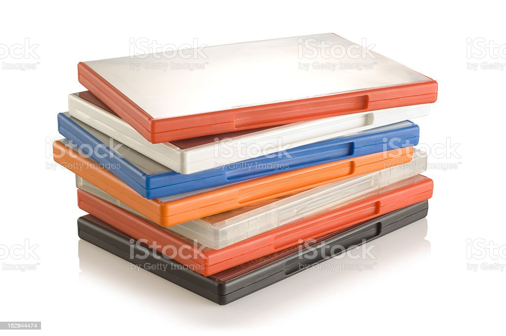 DVD video cases stock photo