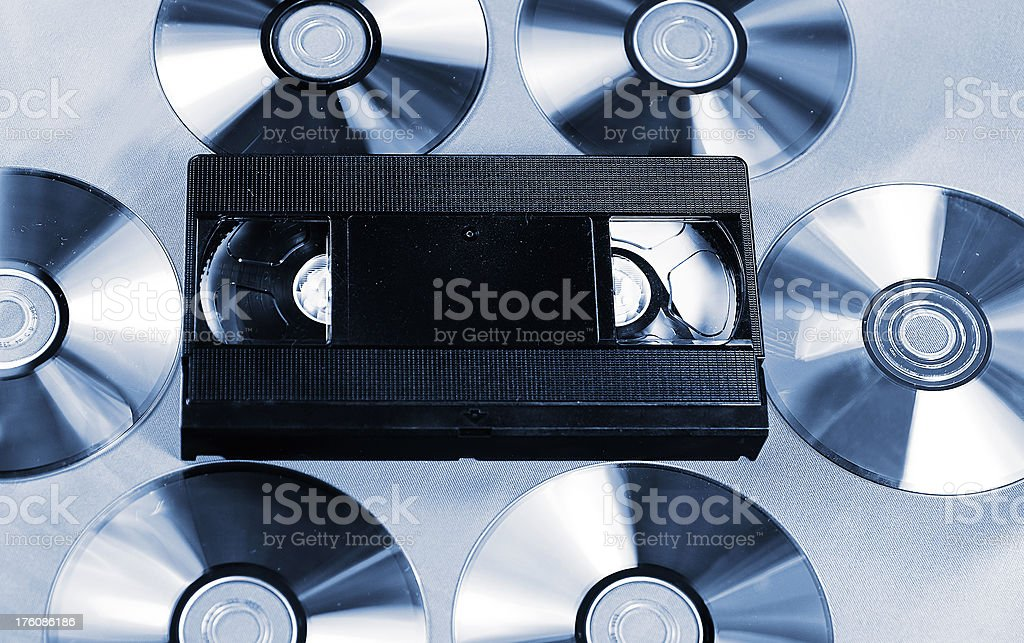 Video Cassette and Cds royalty-free stock photo