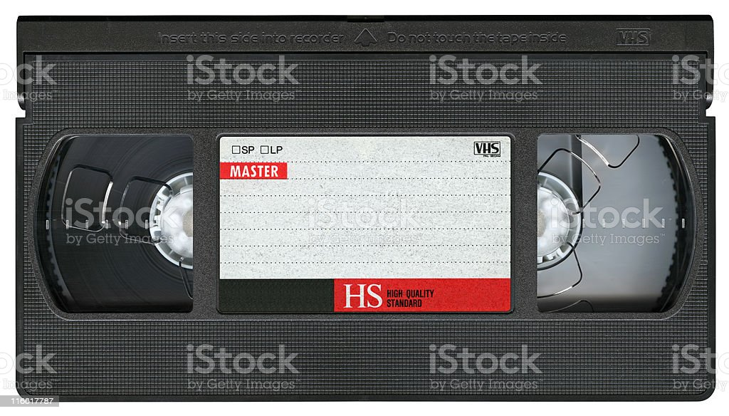 VHS Video Cassette Tape isolated on white background, clipping path royalty-free stock photo