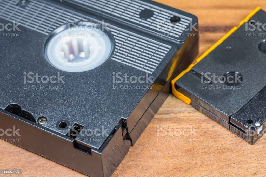Video Cassettes on Wooden Background stock photo