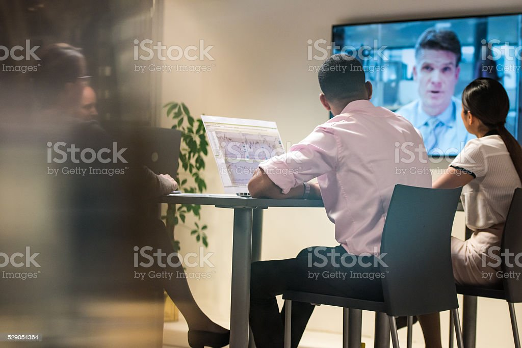 Video conference meeting stock photo