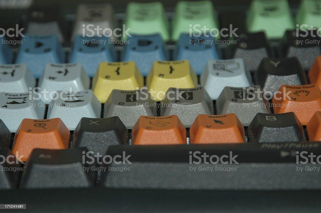video editing keyboard stock photo