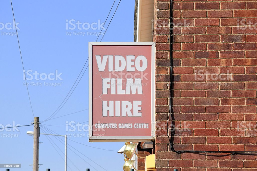 video film hire sign royalty-free stock photo