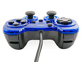 video game controller detail for console gaming isolated on white
