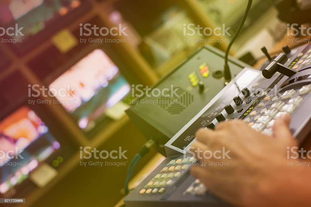 Video mixing panel in a television studio stock photo