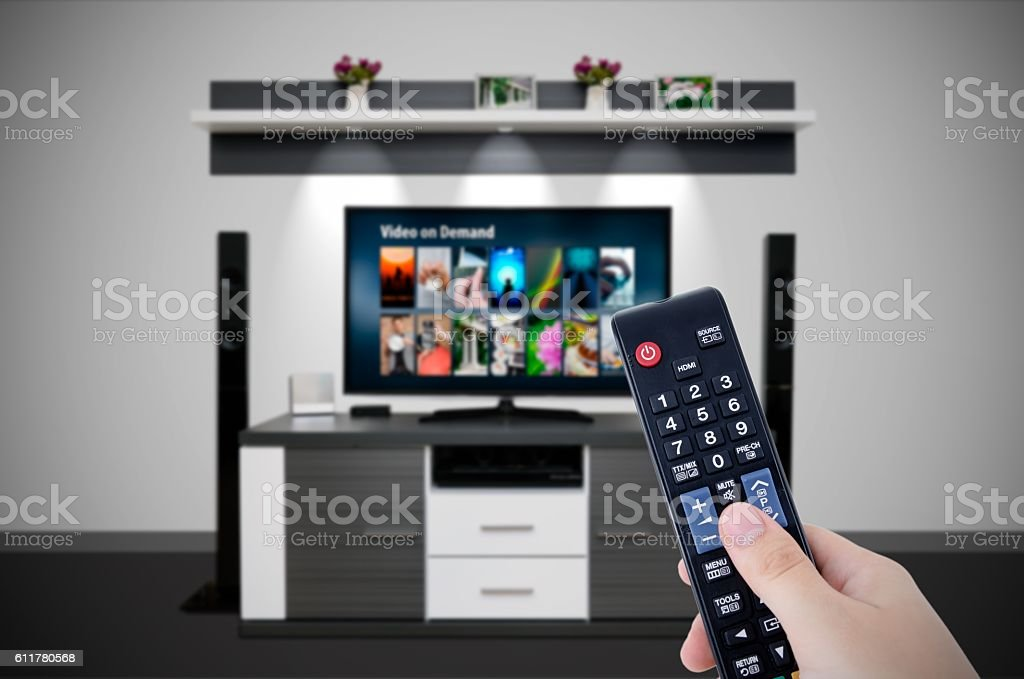 Video on demand VOD service in TV. stock photo