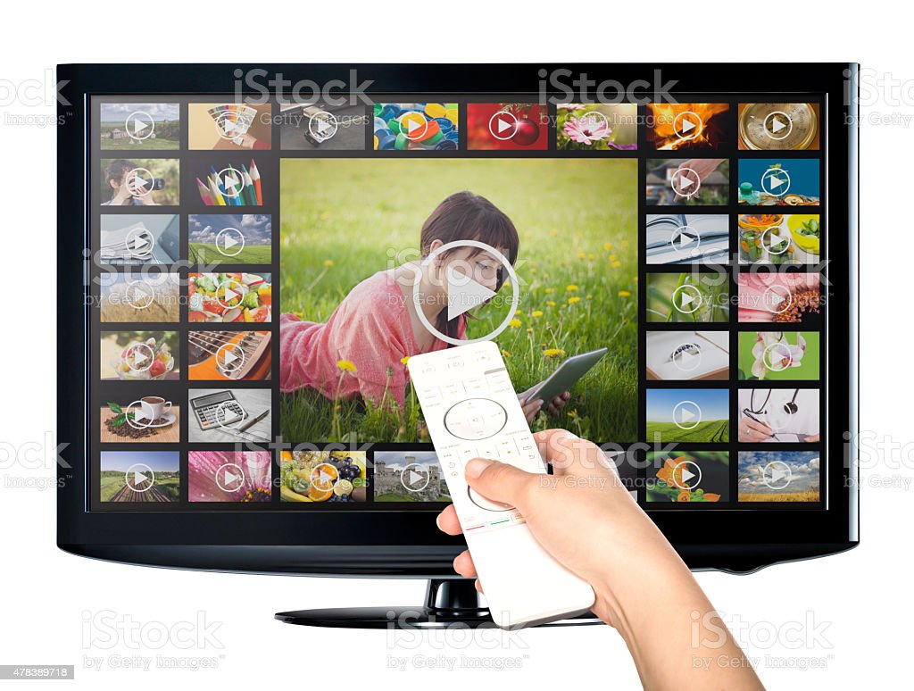 Video on demand VOD service on TV. stock photo