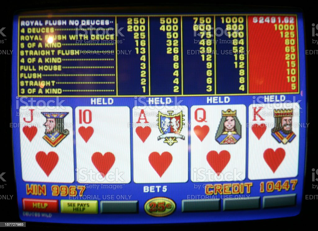 Video Poker - Royal Flush stock photo