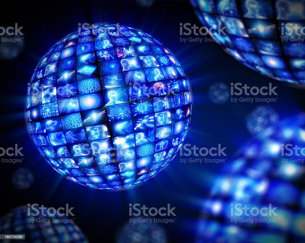 Video spheres with hi-tech screens royalty-free stock photo