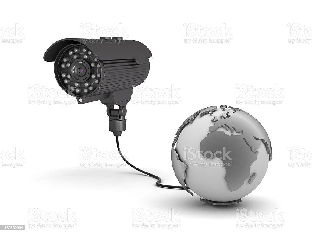 Video surveillance camera and earth globe royalty-free stock photo