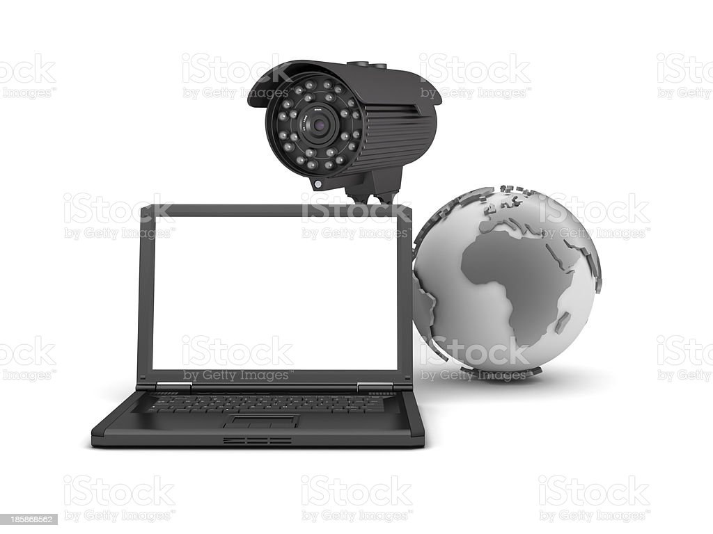 Video surveillance camera and laptop royalty-free stock photo