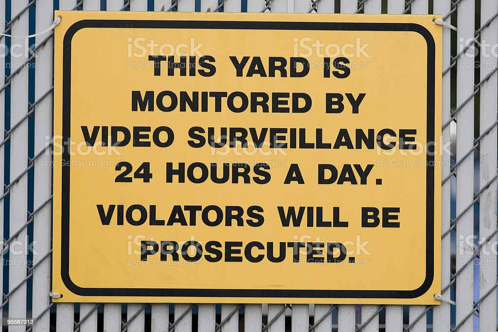 Video Surveillance Warning Sign royalty-free stock photo