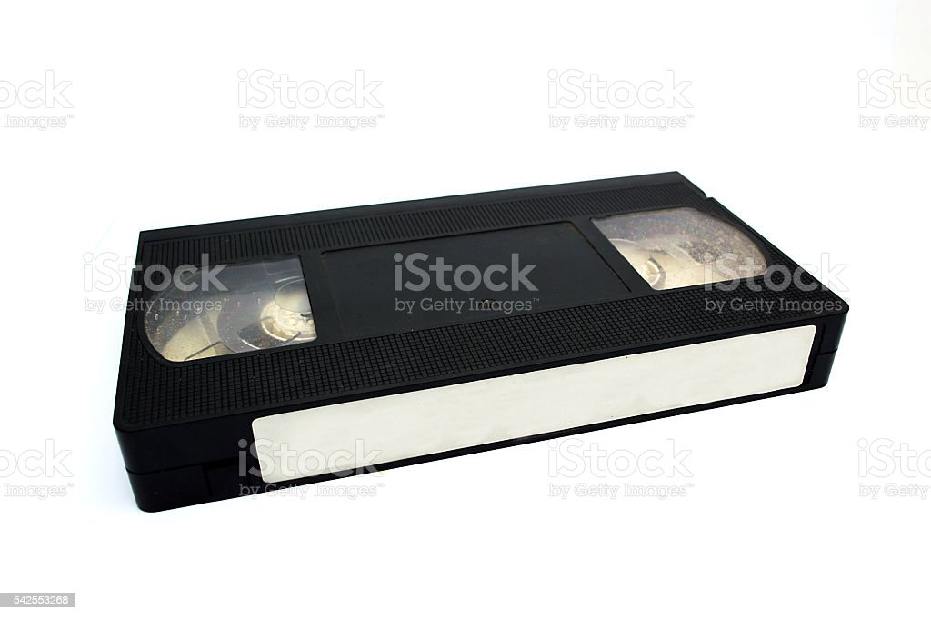 VHS video tape isolated on white background stock photo