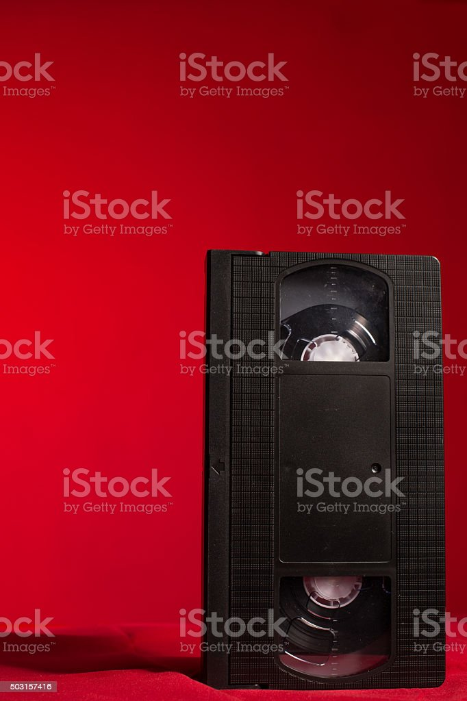 video tape on a red background stock photo