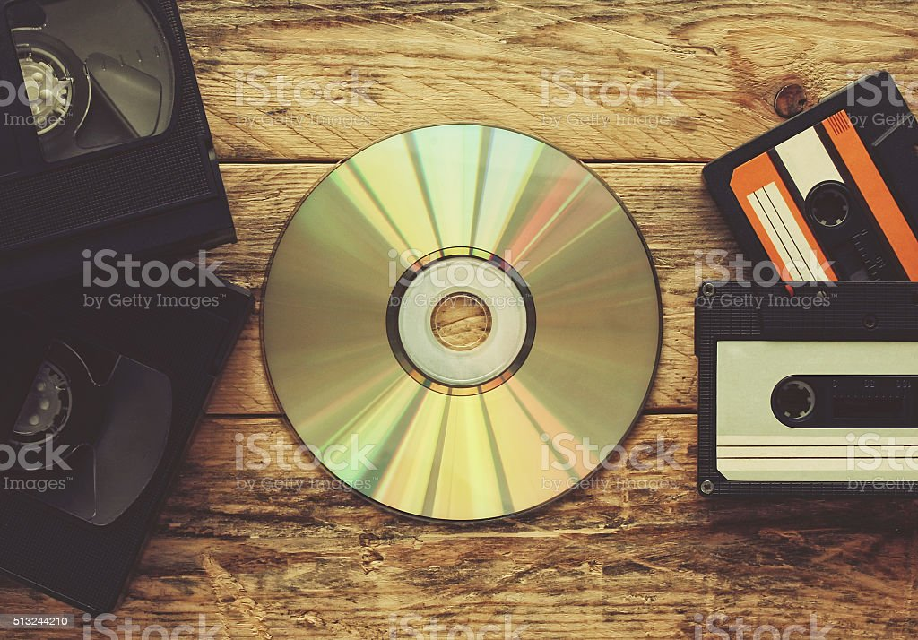 video tapes, audio tapes and compact disc stock photo